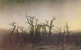 Eldena Abbey - Caspar David Friedrich: Abtei im Eichwald (1809-10), based on the ruins of Eldena Abbey