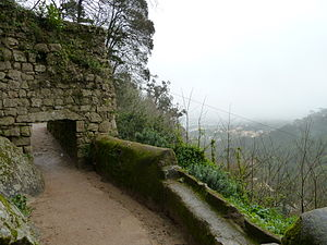Castle of the Moors - The outer wall, with its short, narrow entrance and battlements