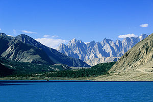 "Attabad Lake - A view of the ""Cathedral Peaks"" from the lake"