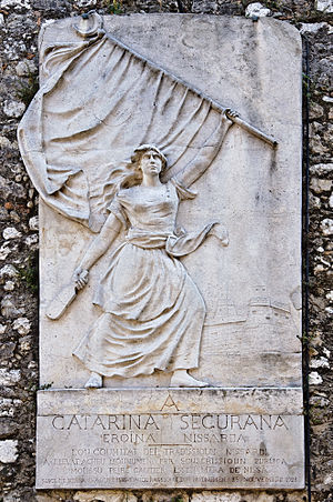 Siege of Nice - Memorial in bas-relief to Catherine Ségurane.