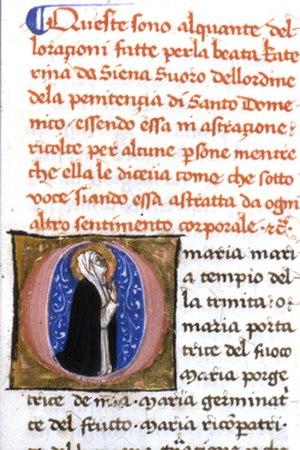 Biblioteca Comunale degli Intronati - Saint Catherine praying, from Orazioni in volgare italiano, 15th century, Biblioteca Comunale Ms. T. II. 7, f. 161r
