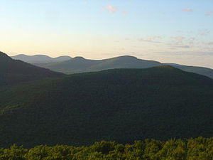 Catskill Escarpment - View from Overlook, showing (from right) Plattekill Mountain, Kaaterskill High Peak, and Blackhead Range