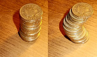 Cavalieri's principle - Two stacks of British coins with the same volume, illustrating Cavalieri's principle in three dimensions