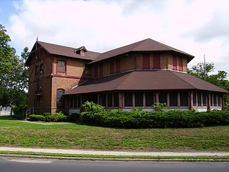 Central Islip Psychiatric Center - One of the original buildings which is now used for the Central Islip Recreation Center