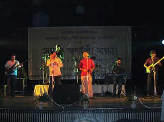Chandrabindoo (band) - Chandrabindoo, left to right: Arup, Saurabh, Upal, Rajshekhar, Anindya, Sibu, Surojit in 2010