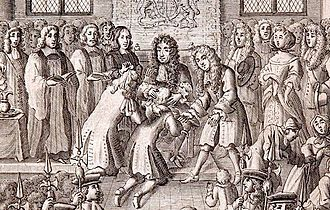 Royal touch - Charles II performing the royal touch; engraving by Robert White (1684)