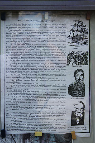 Biography panel of flag officer Dupotet who engaged Nelson's ship in the battle of Trafalgar, on his native house In Chaugey