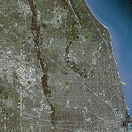 Chicago seen from Spot satellite