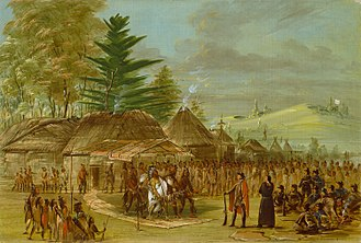 Taensa - Imagined meeting of La Salle with the Taensa, by artist George Catlin circa 1847