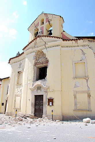 2009 L'Aquila earthquake - The damaged Santa Maria Church in the town of Paganica