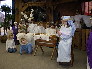 Play (theatre) - Children performing a Christmas play depicting The Nativity