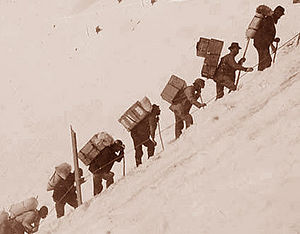 Klondike Gold Rush - Miners carry gear up the Chilkoot Pass to reach the Klondike c. 1898