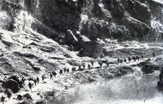 Battle of Xinkou - Chinese troops marching to defend Xinkou mountain passes