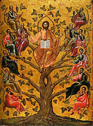 Farewell Discourse - Christ the True Vine, 16th century Greek icon