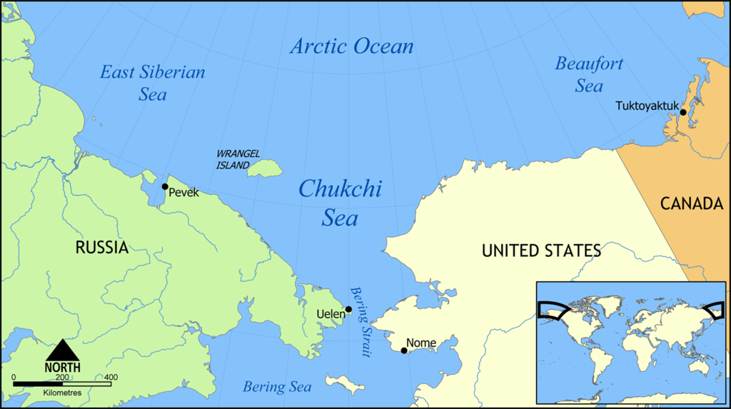 Mapa del mar de Chukotka, entre la península de Kamchatka y Alaska