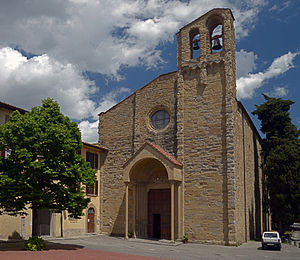 San Domenico, Arezzo - Facade of Church in the summer