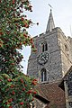 Church of St Nicholas, Ash-with-Westmarsh, Kent - tower from northwest.jpg