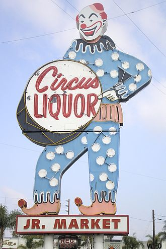 North Hollywood, Los Angeles - Circus Liquor, landmark sign dating from 1959