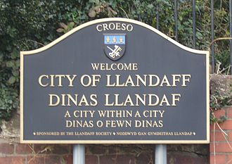 Llandaff - Sign entering Llandaff.