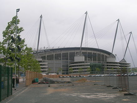 Empty land surrounding the stadium has been envisaged for development since 2002. City of Manchester Stadium collar site.jpg