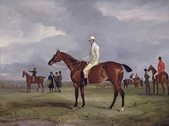 Horatio Ross - Clinker with Captain Horatio Ross up, after winning the 1826 race against Captain Douglas, who is pictured to the right with his head bent. (John Ferneley)