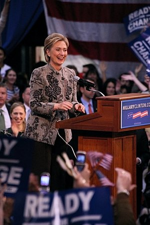 United States presidential election in New Hampshire, 2008 - Hillary Clinton greets supporters after her New Hampshire Primary win.