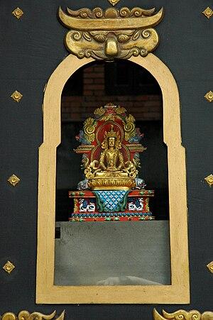 Cloisonne Buddha Statue in Buddhist Art Gallery, Kathmandu, Nepal