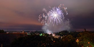 May Week - Fireworks of the St John's College May Ball 2014 viewed from Castle Mound.