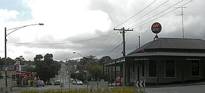 Black Hill, Victoria - Corner of Napier and Peel Street.  The Post Office is on the left and the Black Hill Hotel on the right.