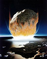 En konstnärs föreställning om hur meteoritnedslaget såg ut.
