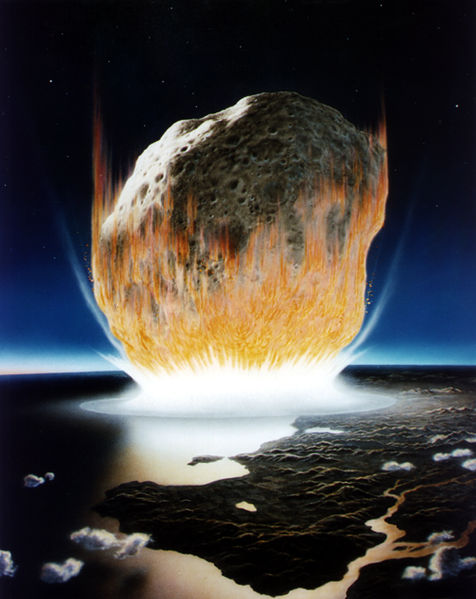 En konstnärs tolkning av meteoritnedslaget som sopade bort de stora dinosaurierna.