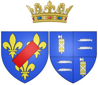 Laura Mancini - Coat of arms of Laura Mancini as Duchess of Mercœur