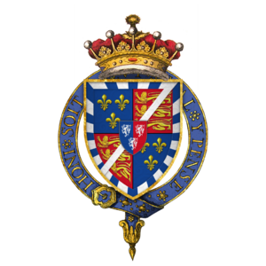 Charles Somerset, 1st Earl of Worcester - Arms of Sir Charles Somerset, 1st Earl of Worcester, KG, showing the arms of Beaufort with baton sinister, with escutcheon of pretence of Herbert, circumscribed by the Garter