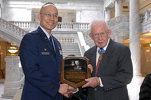 Bernard F. Fisher - Fisher accepts Detachment 850 Distinguished Alumnus award