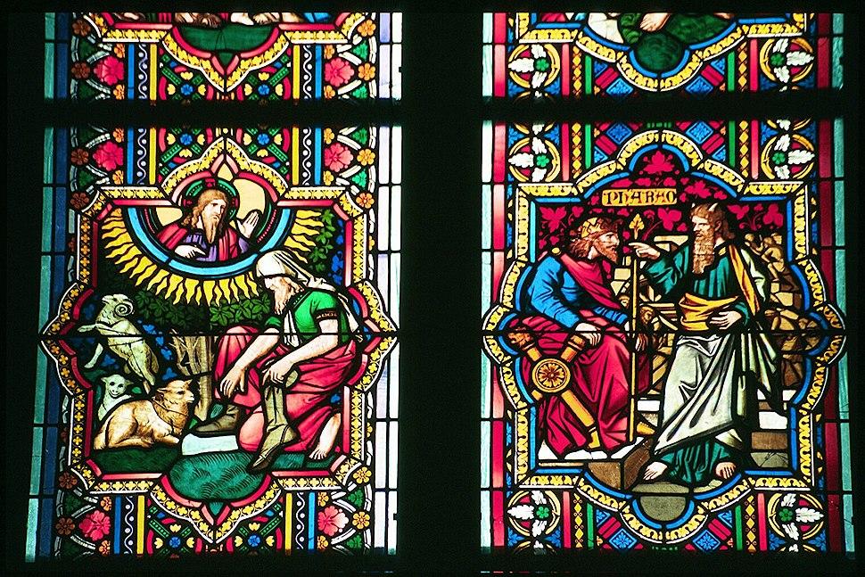 Vidreira: Moisés no monte Sinaí e Moisés ante o faraón (século XIII), Catedral de Colonia, Alemaña.