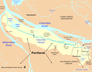 Much longer than wide, the Columbia Slough watershed extends along the Columbia River to the north from Wood Village and Fairview on the east to the Willamette River in Portland on the west. It extends south into north Portland, Maywood Park, and north Gresham.
