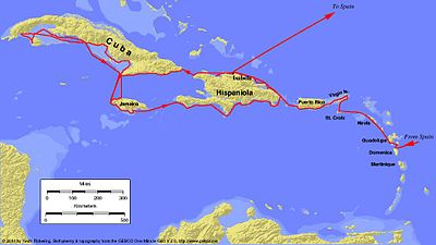 Map Of Columbus Voyage Voyages of Christopher Columbus   Wikipedia