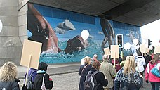 Commonwealth Games mural at the Kingston Bridge