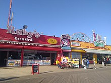 Ruby's and Nathan's, two longtime restaurants on the boardwalk. Ruby's is on the left while Nathan's is on the right.