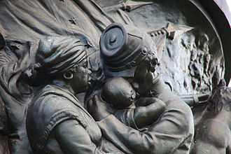 Confederate Memorial (Arlington National Cemetery) - Sculptor Moses Ezekiel included the weeping figure of the loyal black mammy as a correction to what he and the UDC saw as lies about history perpetrated by the North.