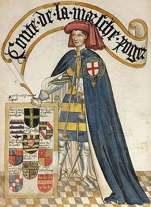 Roger Mortimer, 2nd Earl of March - Conte de la Marsche, Roger, illustration from the Bruges Garter Book, c.1450. He displays the arms of Mortimer on his tabard