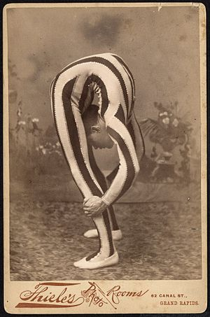 Contortionist, posed in studio, ca. 1880.