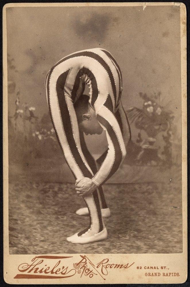Contortionist, posed in studio, ca. 1880