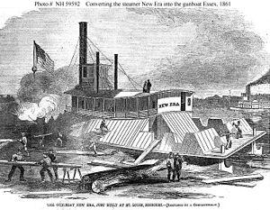 Converting steamer New Era into gunboat USS Essex