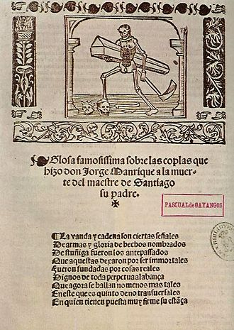 Jorge Manrique - First page of the Coplas by Jorge Manrique.
