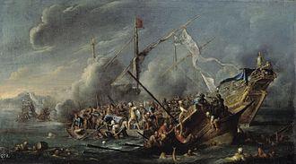 Cornelis de Wael - Naval battle between the Spanish and Turks