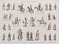 Costumes et portraits. 1.2.4.11. Costumes militaires; 3. Janissaire; 5.8. Beys; 7.17. Mamlouks; 12.15. Arabes; 13.14. A'lmés; 16.18.20.21. Cheykhs; 25.27. Femmes dans le harem; 26. Mariée; (NYPL b14212718-1268859).jpg