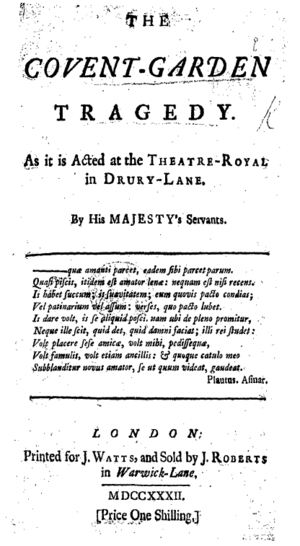 The Covent-Garden Tragedy - Titlepage to The Covent-Garden Tragedy
