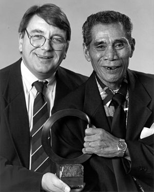 Seacology - Ethnobiologist Paul Alan Cox (left) and village chief Fuiono Senio (right) won the Goldman Environmental Prize in 1997 for their conservation efforts at Falealupo.  Their work later led to the founding of Seacology.