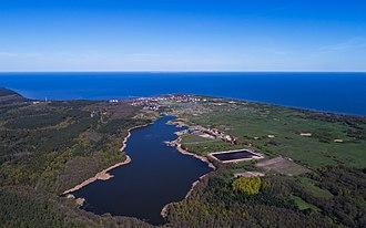 Rybachy, Kaliningrad Oblast - Lake Chaika and Rybachy, aerial view